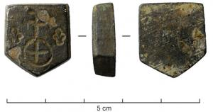 PDS-9173 -  *  Weight town Montagnac&#013 *  Weight -shaped shield, simply engraved on one side : archiepiscopal cross ( double crosses ) on a globe marked with a cross , between two lilies .