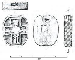 PDT-6003 - *  Pendant with crucifix&#013*  Bone pendant , hollow champleve on one side to untap a crucifix ;  a top perforation allows the suspension ;  the reverse engraved letters IH [S].