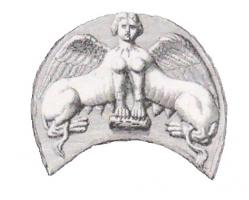 PHA-4016 -  *  Phalerum : double sphynx&#013&#013 *  Phalerum notched circular arc of a circle to the bse , double- faced sphinx .