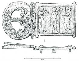 PLB-4025 -  *  Piastra a circuito articolato&#013&#013 *  Belt buckle with a storied rectangular plate with a stage also known on isolated patches worn with this plate loop- winged Eros playing a military array, with Eros- General between two putti attached to trophies , the ornate buckle (  foliage , punctuation ) has two sticks bent inwards , and the molded tongue is also adorned with a palm .