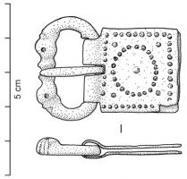 PLB-4035 -  *  Plate- ciclo termina zoomorfi articolate e arredamento punteggiati&#013&#013 *  Belt buckle with loops horse heads clashed , hinged on a metal plate decorated with punctuation.  The sides of the hinge plate are notched to receive the straight portion of the loop that serves as rotation axis for the pin .