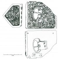 PLB-4058 - *  Belt pad , type B : plate buckle&#013&#013 *  Plate - loop excised rectangular décor : the loop ends faced to zoomorphic , placed in an opening , the front edge of the plate is equipped with a cylindrical protective splint .