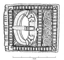 PLB-4059 - Belt buckle with excised decoration, type B, rectangular&#013&#013 *  Plate - loop excised rectangular décor : the loop ends faced to zoomorphic , placed in an opening , the front edge of the plate is equipped with a cylindrical protective splint .