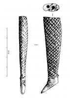 POU-4003 -  *  Bambola congiunta : gamba&#013&#013 *  Articulated leg , boot floor and a flexible sheathed in a grid pattern .  At the top, two holes should allow the articulation of a doll.