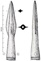 PTL-1008 -  *  Spearhead socket decorated&#013&#013 *  Spearhead with conical socket elongated , with two symmetrical holes , narrow wings and reinforced by a central ridge of triangular section tip , sleeve decorated with various geometric patterns.