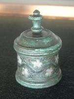 PYX-4017 -  *  pyxis&#013&#013 *  Cylindrical pyxis , the limited body moldings , straight belly decorated with engraved patterns and inlaid with silver (silver) ; conical lid uppermost button to grip.