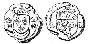 SCL-9011 -  *  Doganale sigillo Lione , Enrico II&#013&#013 *  On the one hand , shield of France ( three fleurs de lis and crowned above a crescent, each side a crowned H , on the other , shield -shaped shield of the city of Lyon ( lion surmounting sinister  under three lilies ) in a jewel of sides L [ vgdvn ] I,