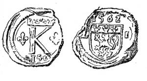 SCL-9013 -  *  Doganale sigillo Lione , Carlo IX&#013&#013 *  On one side letter K ( Karolus ) crowned and flanked by two lilies , below , date ( 1562 ...) other side arms of the city of Lyon ( lion on the left, in a band with three flowers  lily) on a date ( 1562 ... ) and harrasment letters.