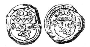 SCL-9017 -  *  Doganale sigillo Lione , Enrico IV&#013&#013 *  On one side , indented crest of the city of Lyon in 3 lilies in the sides 16/ 01 or another date , on the other , écancré crest of the city of Lyon in LVGDVNI in the ribs , the date 16 /  01 or the like.
