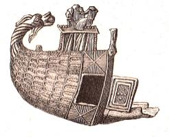 SFP-9001 -  *  Fischio pellegrino ND Boulogne&#013&#013 *  Whistle -shaped half- vessel , the stern is curved dragon head .  On the pond , sitting Virgin holding the Child Jesus.  A door opens into the side of the ship, which appears scaly .