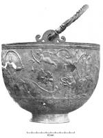 SIT-4002 - Situla, Hemmoor type&#013&#013 *  Situla money, fome hemispherical with a straight lip, usually thickened and molded outside , which drilled two appendices in which emerging plays in a loop termination hooks , tapered foot.