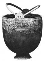 SIT-4042 - Situla, Hemmor type&#013&#013 *  Situle of fome hemispherical with a straight lip thickened and molded outside , from which emerge two double drilled appendices in which to play two handles termination hooks , under the lip , incised frieze or very slight relief : continuation of  animals, hunting ...  , Tapered foot.