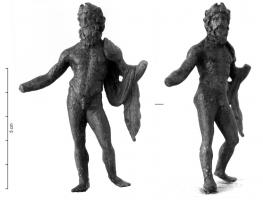 STE-4030 -  *  Statuette of Zeus - Jupiter&#013&#013 *  Statue ( head ) bronze of Zeus or Jupiter as a mature man , bearded, naked except for chlamys uje placed on the left shoulder , the god is based on a lance  left behind a patera in right hand.