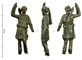 STE-4052 -  *  Statuette of Artemis - Diane&#013&#013 *  The goddess , in light suit feature ( raised tunic with a belt ) , short hair, takes an arrow in his right shoulder hanging quiver .  The left hand was holding a bow.