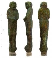 STE-4306 -  *  Statuette : comedian&#013&#013*  Figurine shaped sheath , arms greenhouses along the body and hands clasped, terminated by a peak under the feet ;  it appears a comic actor, draped in a cloak , tournee head slightly to the left.
