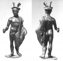 STE-4367 - *  Statue : Hermes - Mercury chlamys covering the left side&#013&#013*  Mercury Statuette representing naked fairing has a petasus fins, a cloak covering the left shoulder (the hand holding a caduceus often disappeared ) , the right hand behind a purse ;  swaying lysippique ;  sometimes fins feet.