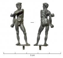 STE-4378 - *  Statuette : athlete ?&#013&#013*  Naked man has bushy hair , bearded, thin but muscular body in a swaying position : head tour left , the left hand is toward the right arm he seems scrub with an object ( strigil ? ) .