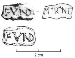 TES-4048 -  *  Rectangular Tessera : FVND&#013&#013 *  Lead plaque , carved in paring , crushed by affixing an embossed on one side , without cartridge brand: FVND (ND ligated ), smooth side (with graffites ) .