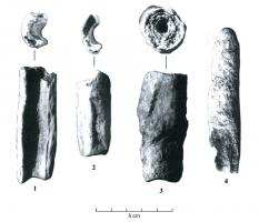 TLI-3001 - Tube de litharge&#013plomb&#013Tube de section épaisse, approximativement cylindrique, aspect minéral souvent feuilleté, diamètre env. 10-20 mm; longueur variable.